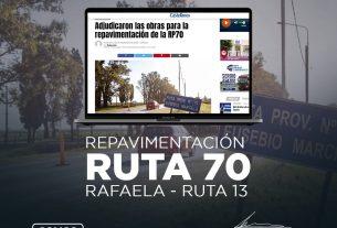 Adjudicación de obra para la re-pavimentación de la Ruta Provincial 70