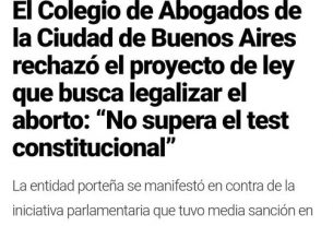 """El Proyecto de Aborto """"NO SUPERA EL TEST CONSTITUCIONAL"""""""