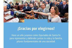 Hace un año jurábamos ante Dios y los Santos Evangelios, que seríamos legisladores comprometidos con los valores de la vida y la familia, y en nuestro trabajo en la Cámara de Diputados.