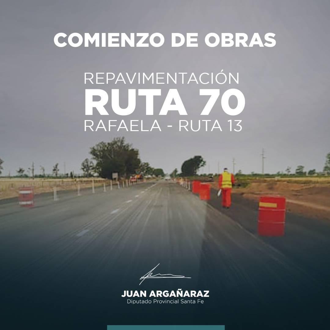 Hoy ya está en marcha la repavimentación en la ruta 70